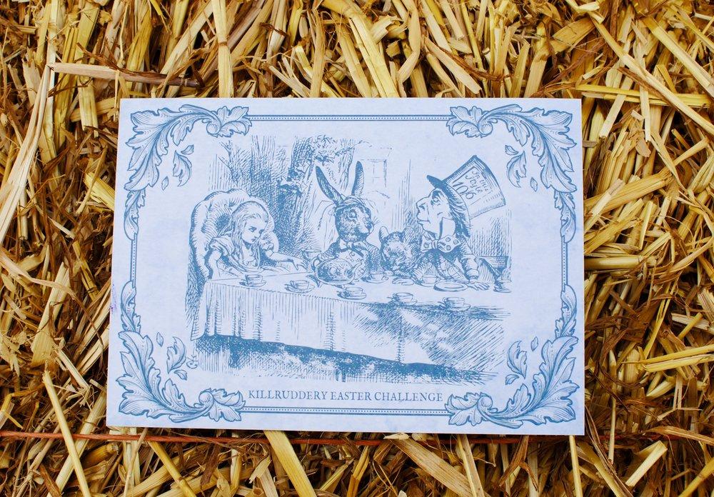 Cada niño recibió una hermosa carta con instrucciones para la búsqueda de huevos de chocolate.