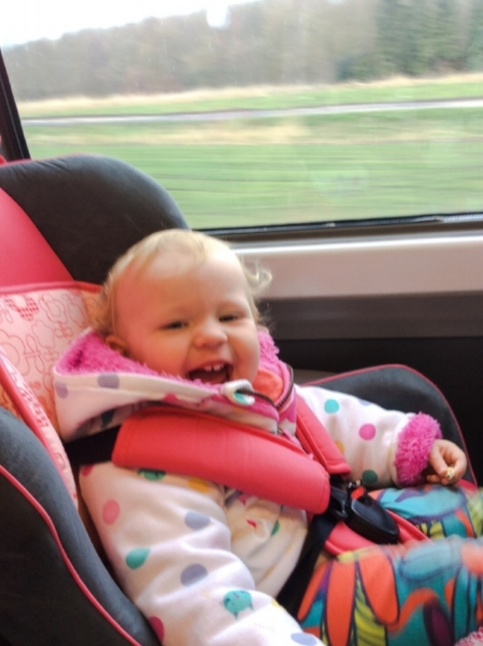 I lugged Sienna's car seat to countless places but it was worth it to have her safe in the car and is a great handsfree option for the train (on the way to visiting someone who owns a car!) too!