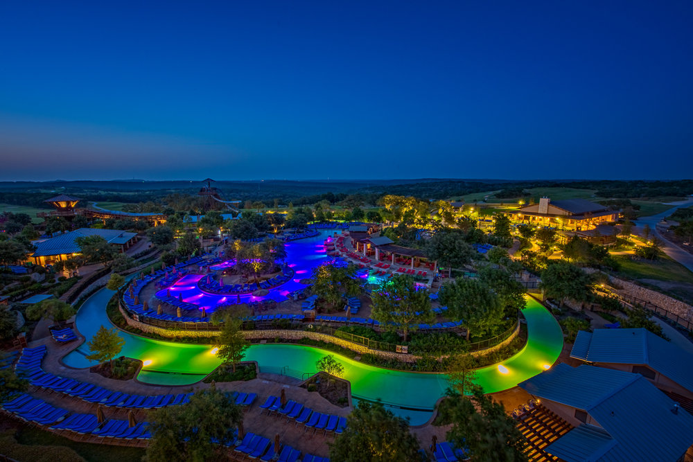 Twilight settles in at the JW Marriott Hill Country Resort and Spa in San Antonio