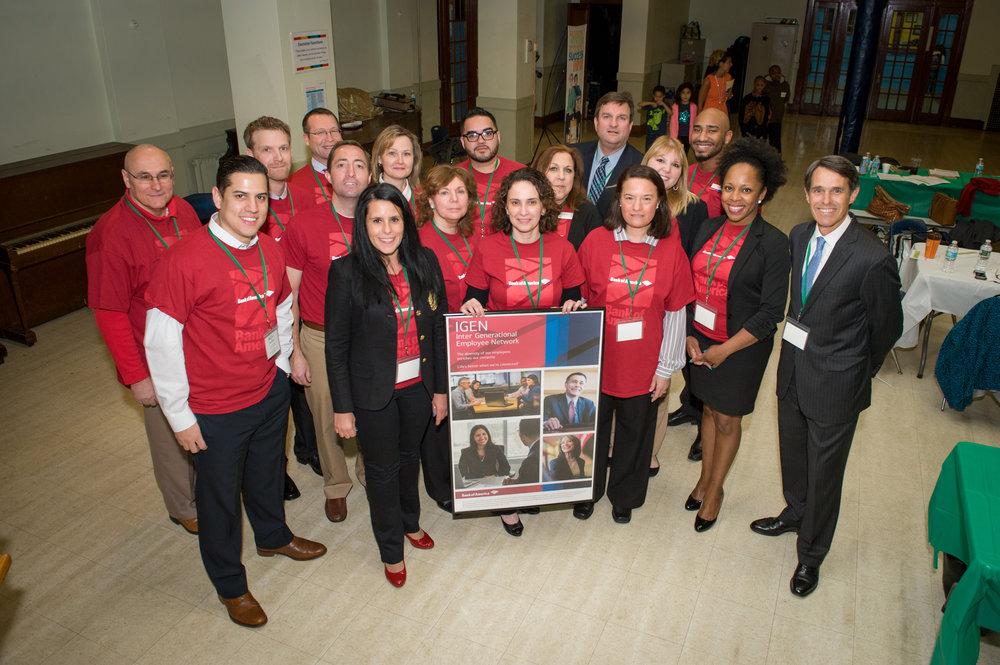 Bank of America IGEN volunteers during JA Leaders Day at George West Elementary School in Providence.