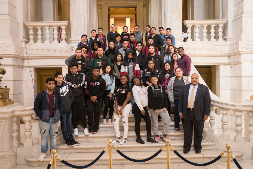 Students from Mt. Pleasant High School visited the RI State House and participated in a mock legislative session as part of their JA Job Shadow program during Education Awareness Week.