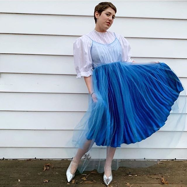 @off.rhyme.clothing, a #bluevalentine angel in her J U L I A tulle slip dress 😇💙