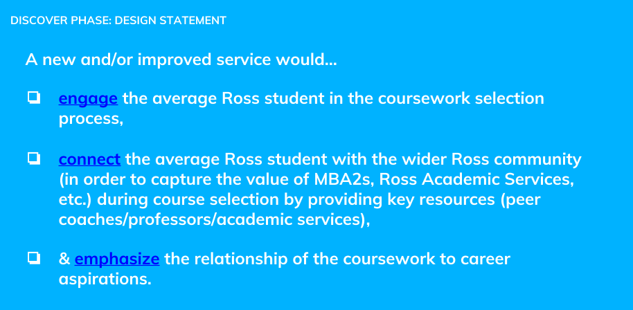 The final design statement to guide the design of a new service for Ross MBA students.