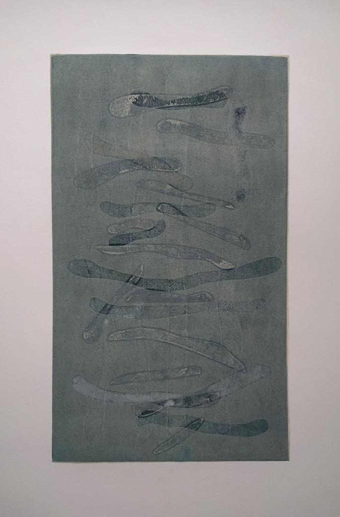 "smereka - 22 x 15"" - blue sticks - $400"