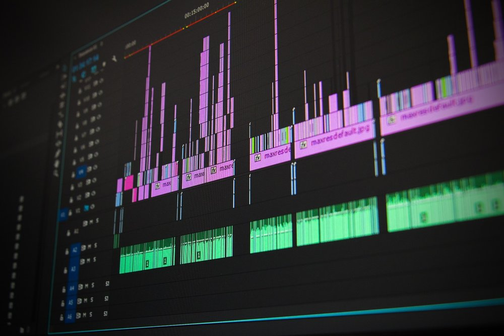 View of video and audio files being edited into a final product.