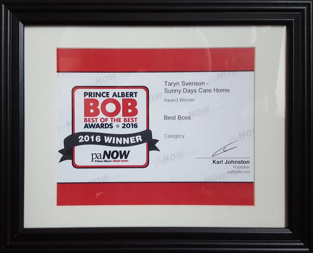 Best of The Best Award for Best Boss - Won by Taryn Svenson in 2016