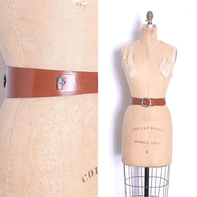 Just in: 1950s leather waist-cincher with beer steins 🍻 so fun! Fits an XS-S