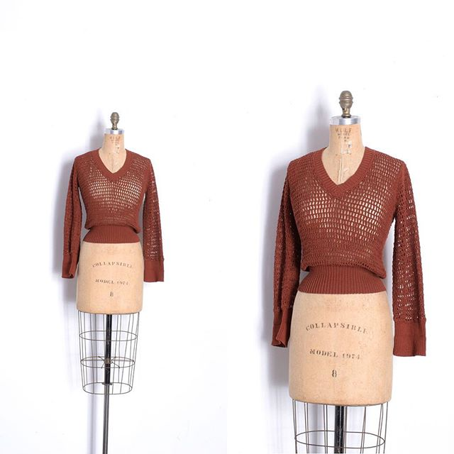 Just in: Super cool '70s open weave fishnet sweater, perfect for spring! Size small