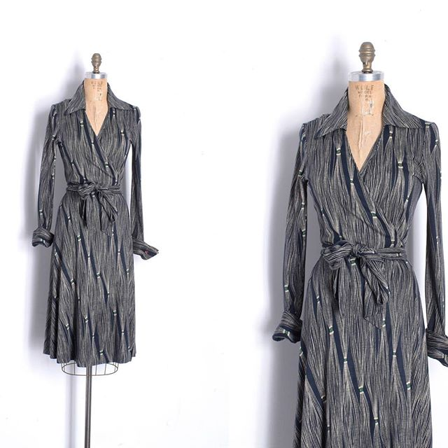 Just in: Amazing '70s Diane von Furstenberg wrap dress in a collectible tassel-esque print. Fits sizes small-large due to wrap style.