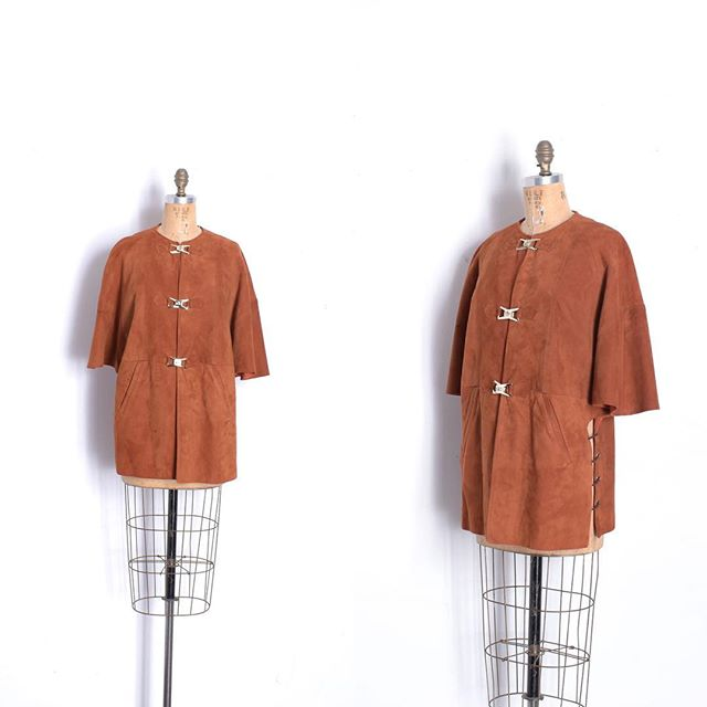 Just in: Super cool '60s suede capelet jacket with lace-up sides. One size fits many