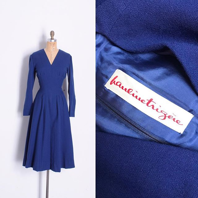 Just in: Really gorgeous Pauline Trigere dress with super flattering waist seaming detailing! Size XL