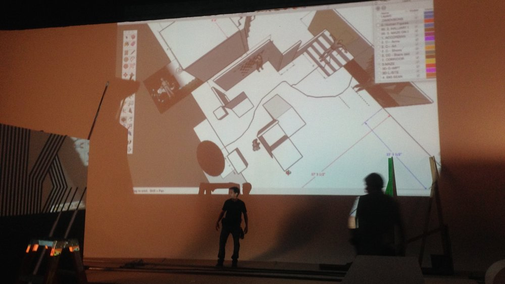 Projecting the set design on the cyc wall allowed us to carefully layout the set pieces and adjust on the fly.