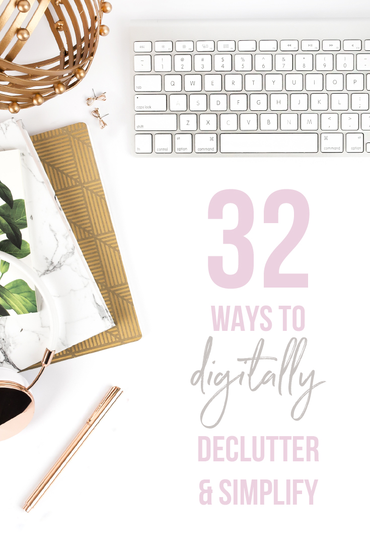 32 Ways to Declutter and Simplify - Are you feeling overwhelmed by your inbox? You phones a mess and even on your best day you can't keep on top of all those little red numbers popping up on your social media apps? You are not alone, friend.  Here are 32 quick and simple ways to work toward decluttering your digital life, eliminating the daily overwhelm and allowing you some space to unplug: