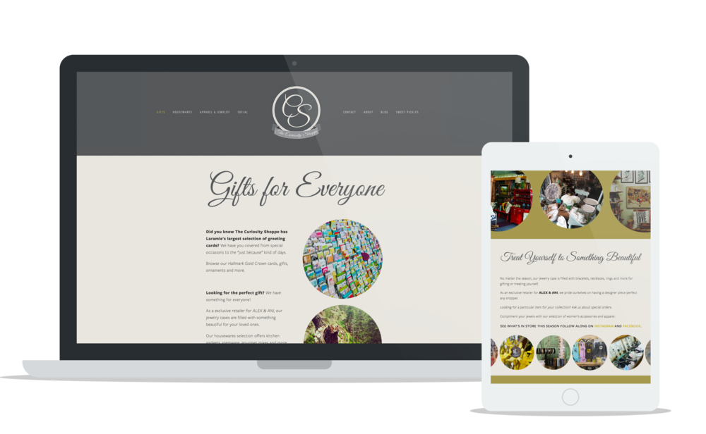Curiosity Shoppe Laramie Wyoming - Small Business Website Design