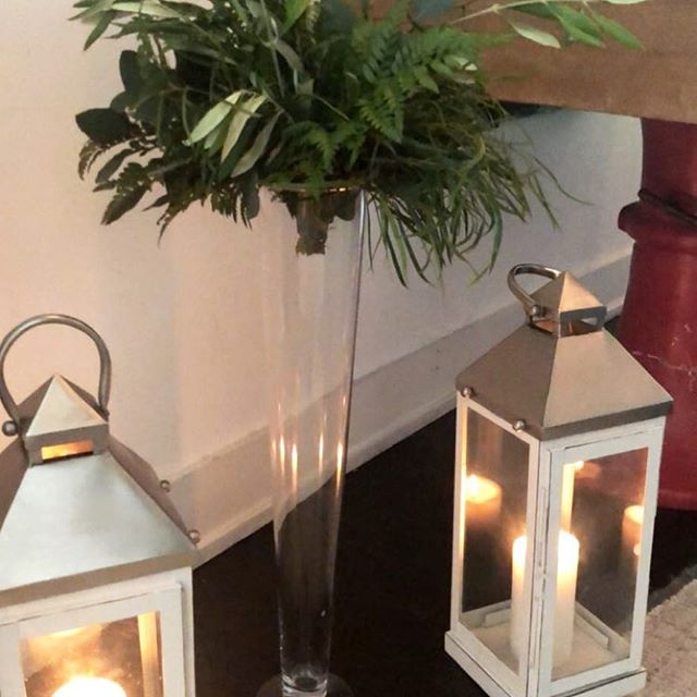 Silver Lanterns / Tall Clear Vases