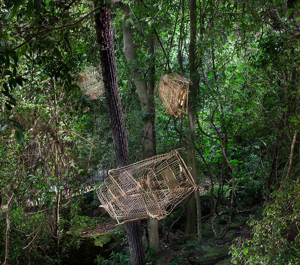 Golden Shopping Trolleys // Sculpture at Scenic World // NSW // 2016