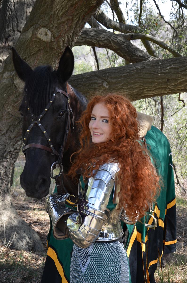 Virginia Hankins Knight with Black Azteca Horse Casanova 3.JPG