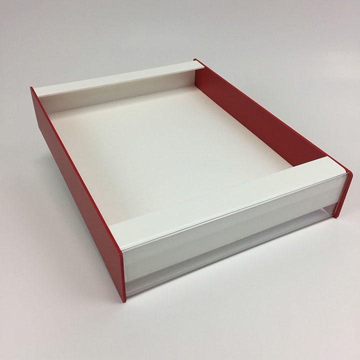 Custom point-of-purchase display made from white and red PVC