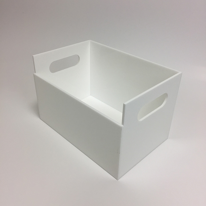 Custom display box fabricated from white acrylic