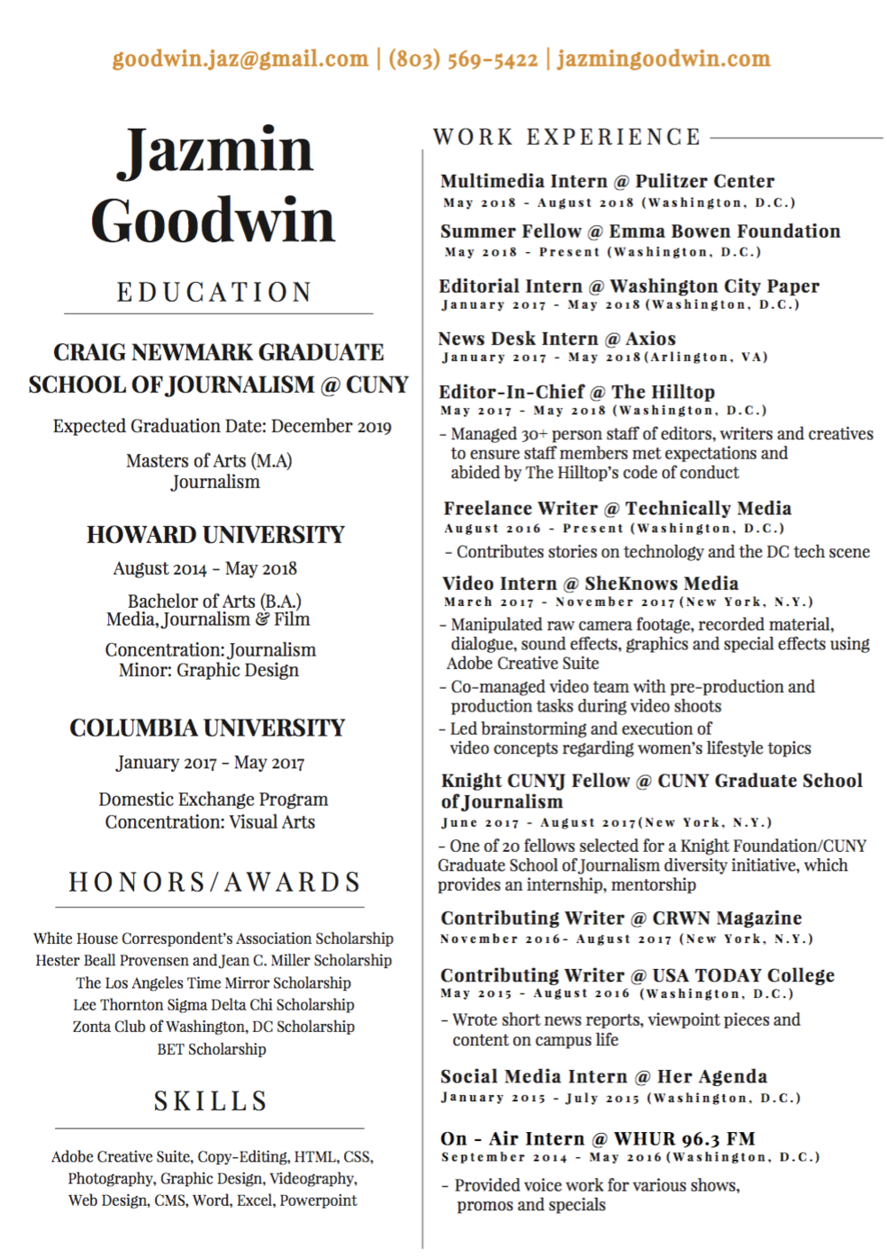 RESUME — Jazmin Goodwin