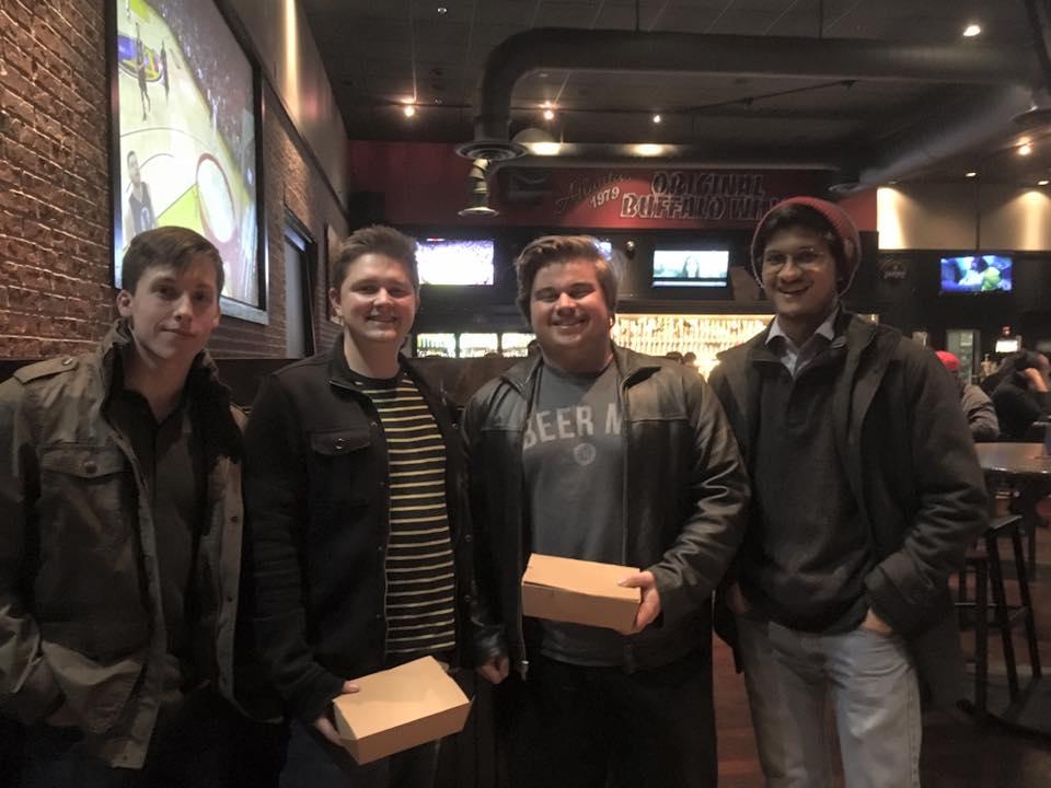 From left: Composer: Zachary Woomer, Lead Programmer: Eric Cook, Art: Garrett Stache and Lead Developer: Kartik Kini