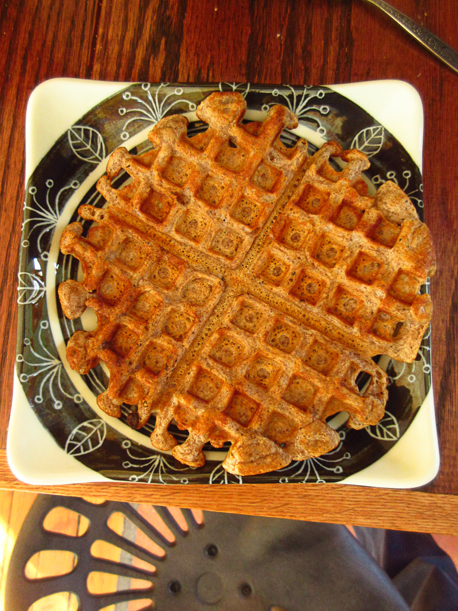 Waffle with acorn flour (and wheat flour), also delicious
