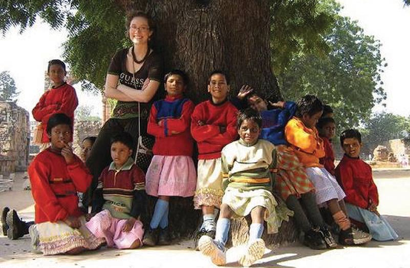 Heather Pinay on a field trip with some of the girls she worked with in India - 2007.