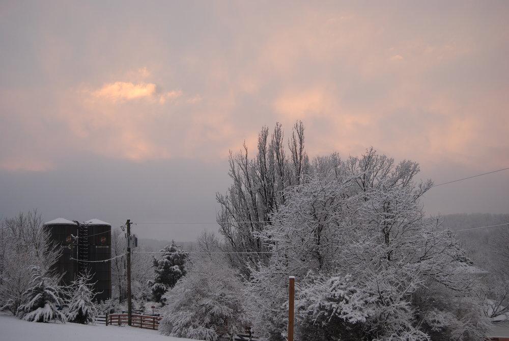 Thomson Farm with snow sunset silos.JPG