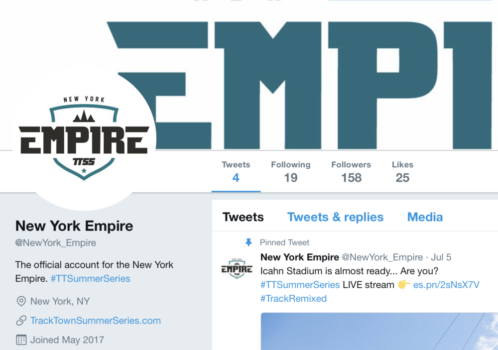 New York Empire (not the frisbee team) twitter account