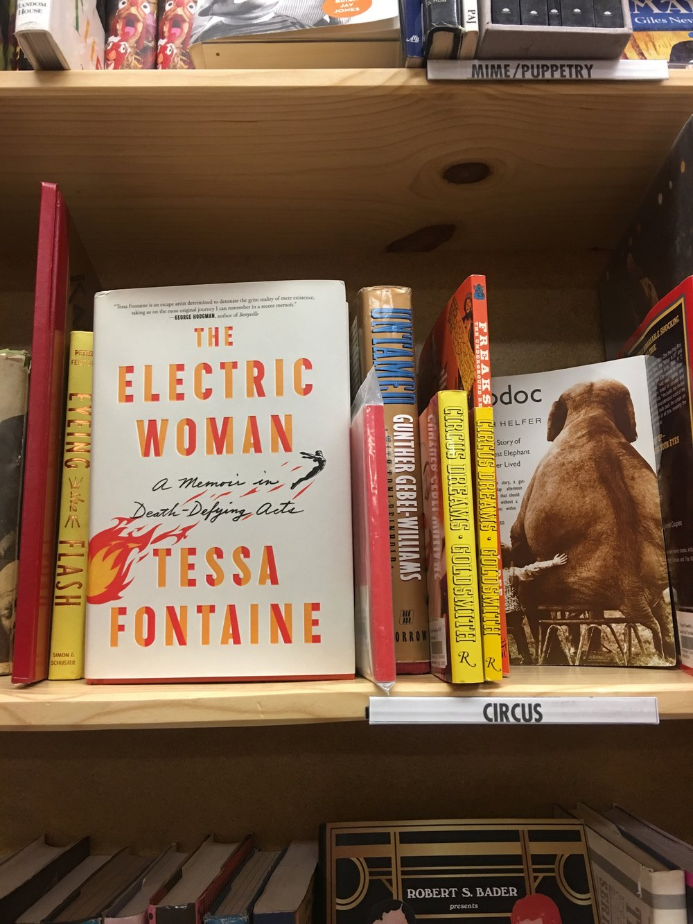 "Only Powell's would have a ""Circus"" shelf for Tessa's book!"