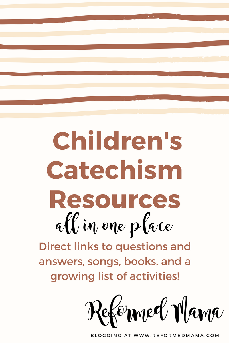 Children's Catechism Resources - based on the Westminster Shorter Catechism, here's a ONE PAGE overview on the questions, direct links to the best songs, books, and a growing list of activities and printables!