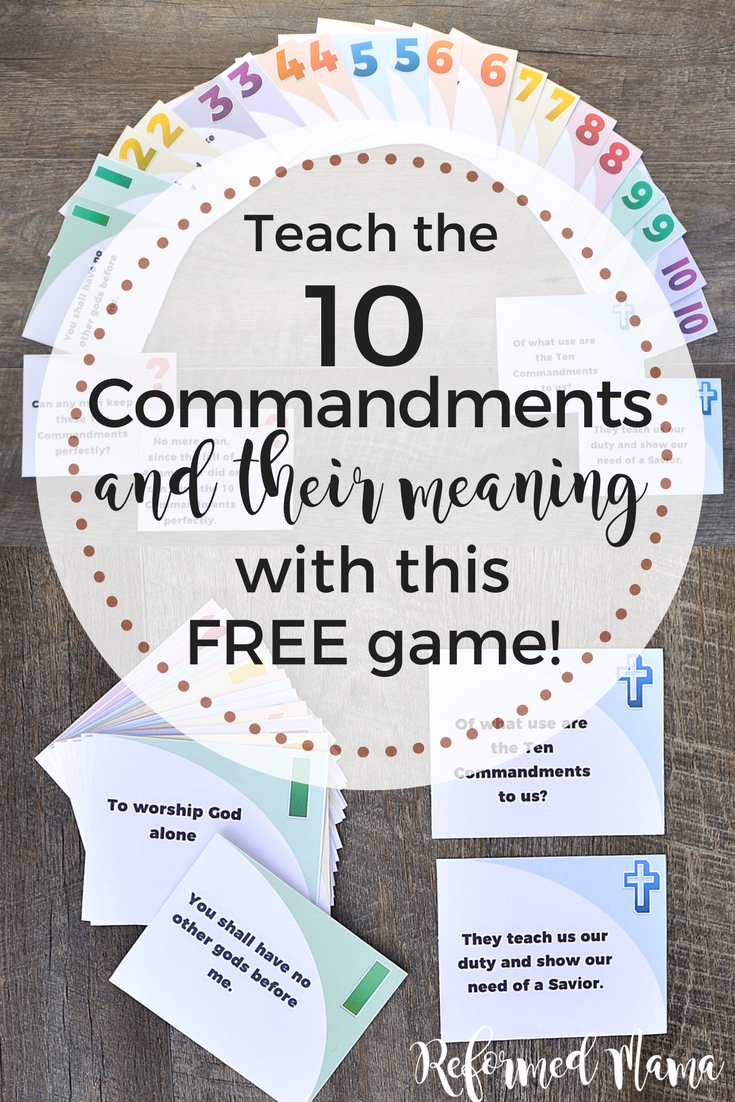 Teach the 10 Commandments and their meaning based on the children's catechism) with ths Free Printable Matching Game that also has matching colors, numbers, and symbols! #freegame #freeprintable #tencommandments #10commandments #gameschooling