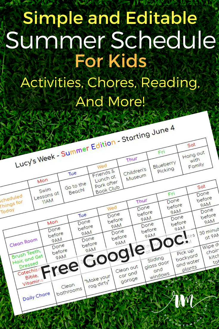 Free Google Doc Simple and Editable Summer Schedule for Kids - Includes Chores, Free Reading Time, Free Drawing Time, Allowances, and Daily Activities #homeschool #summer #kids #chorechart