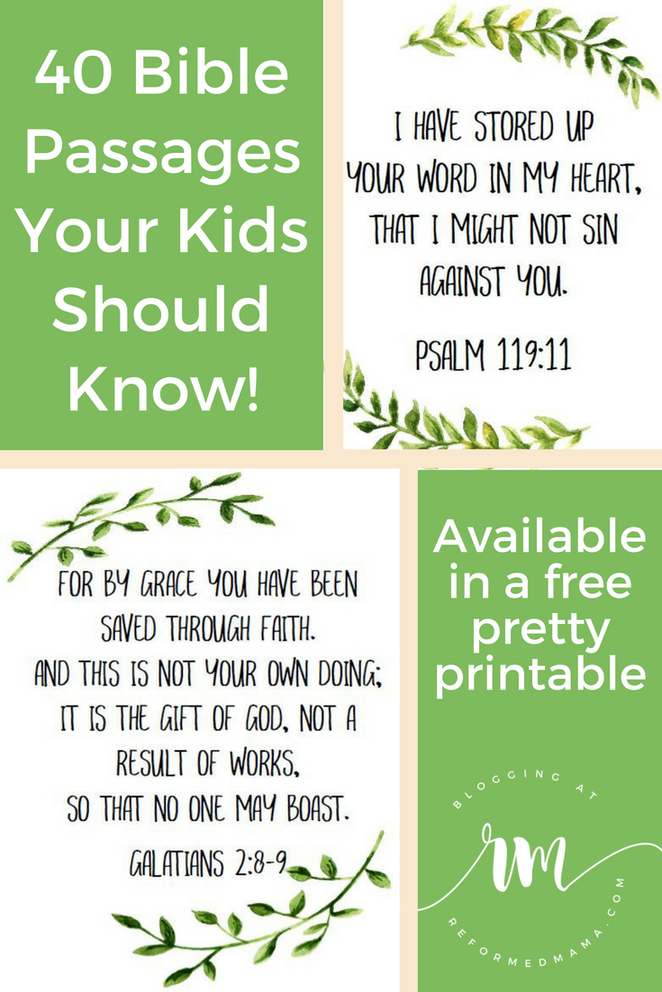 40 Essential Scripture Passages in a Pretty Free Printable ...