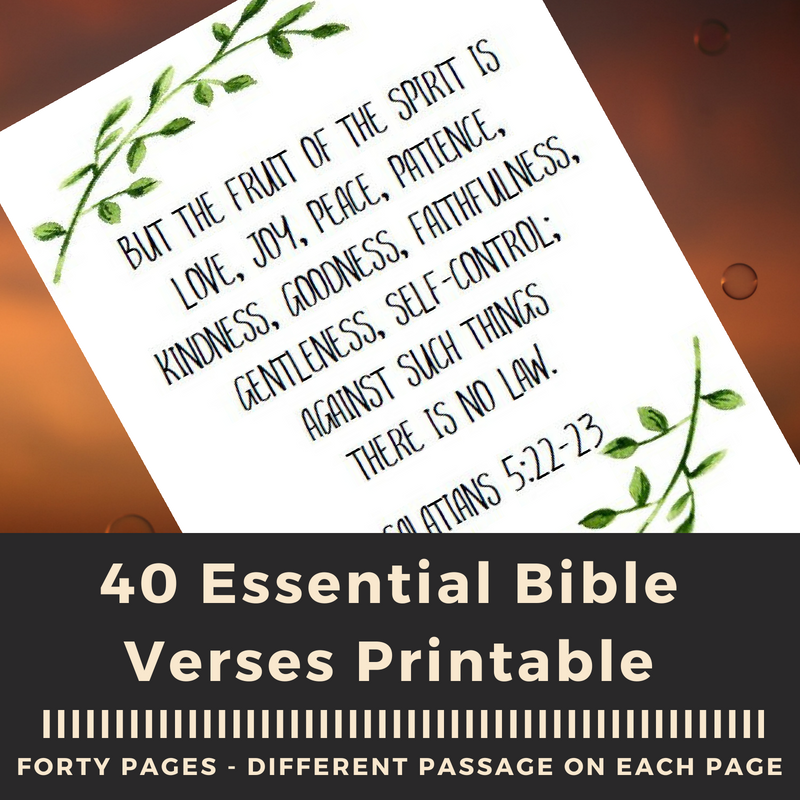 40 Essential Bible Passages Your Kids Should Know! A free printable pdf with 40 passages all from the ESV. A year of Bible memorization with one print! #freeprintable #homeschool #christianhomeschool #biblememorization #bibleverse