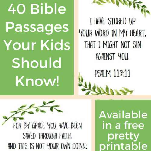 40 essential scripture passages in a pretty free printable plus some tips on memorizing bible