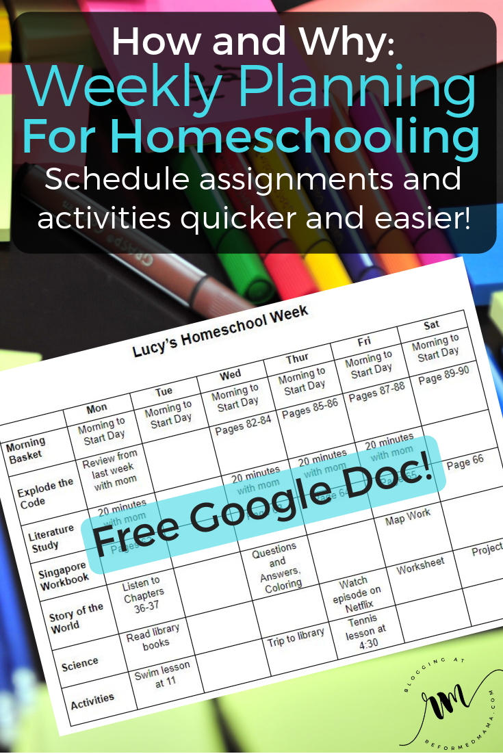 How and Why I Plan Our Homeschool Assignments Weekly - Including a Free Google Doc that you can customize and make your own! #homeschool #homeschoolschedule #homeschoolplanning #weeklyplanning