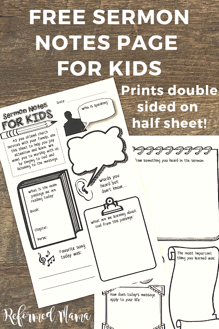 Church Bulletin and Sermon Notes for Kids - Free Download to Use Weekly