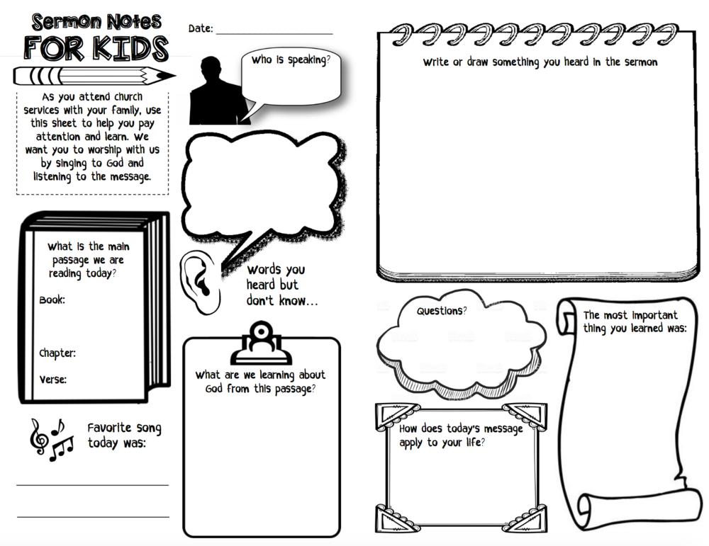 Get this Sermon Notes for Kids page today to print and use at your church! #church #kidschurch #sermonnotes #childrensbulletin