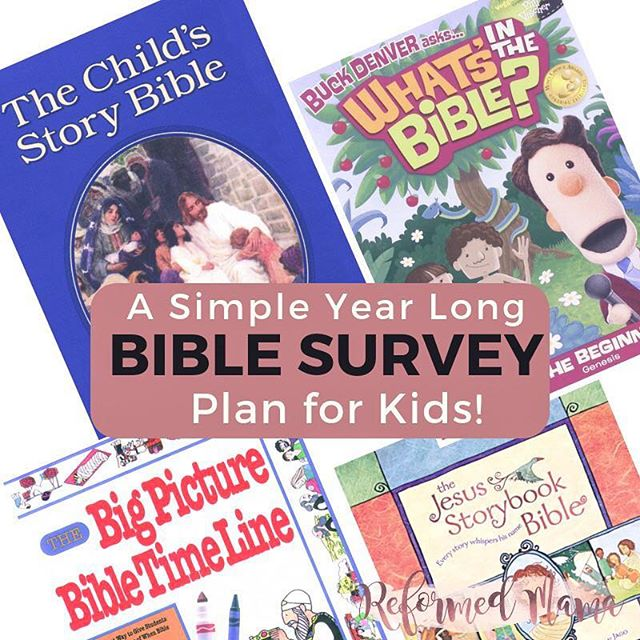 Do you use a Bible curriculum with your kids? ⁣ In 2018, I felt like I wasn't doing enough for my kids to give them a survey of the whole Bible. ⁣ ⁣ I put together a simple plan that would get us through one year of all the history and stories of the Bible and works for all ages in my house (currently ages 3 to 8). ⁣ ⁣ In this plan, there is a lot of grace and just four components, one of each to:⁣ - read,⁣ - color,⁣ - listen to,⁣ - and watch.