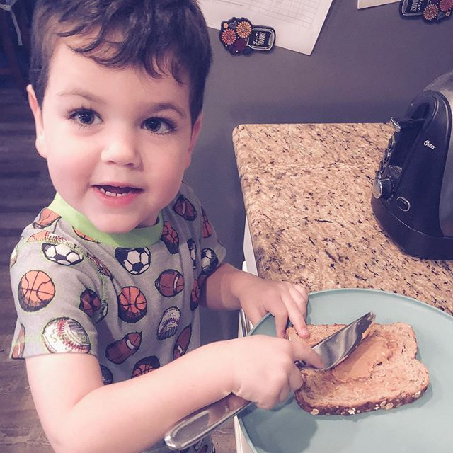 """Are you finding the good that is there in each stage?   Instead of just dwelling on the hard?  Like this one where the toddler is learning to make his own peanut butter toast and everything ends up a bit messier than it should?  I'm trying to remember this myself… when I slow down and think about showing the love and grace I've received to my kids, my days are so much better! Don't you agree?  """"And it is my prayer that your love may abound more and more, with knowledge and all discernment"""" - Philippians 1:9 ESV   #reformedmama #christianmama #gloriousmotherhood  #gospelcenteredparenting #thrivemoms #blessedisshe #bissisterhood #risenmotherhood #documentlife #writeyouonmyheart #coffeeandcrumbs #joyfulmamas #nothingisordinary #letthembelittle #honestmotherhood #gracebasedmotherhood #homeschoollifestyle #toddlerstages"""