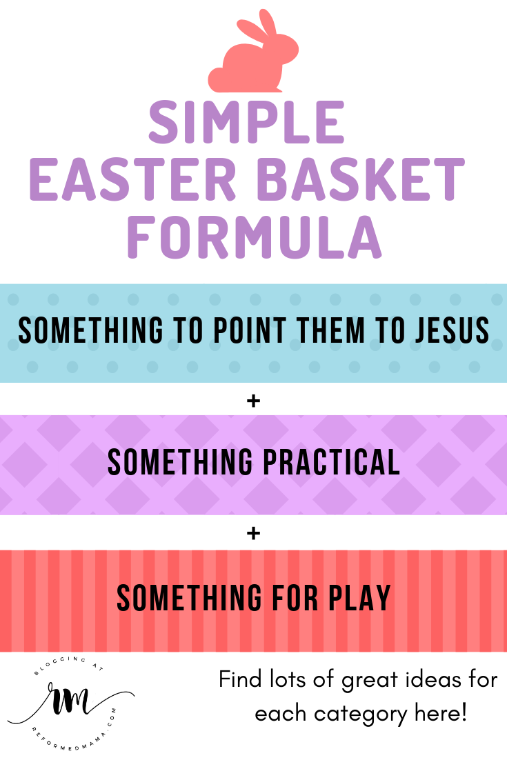 Simple Easter Basket Formula for when you want even your Easter gifts to be Christ-Centered in some way. No candy or toys that will get thrown away here! This list is full of great books and music that point your kids to Jesus as well as practical items and gifts for play you'll be happy to see them use! #easterbasket