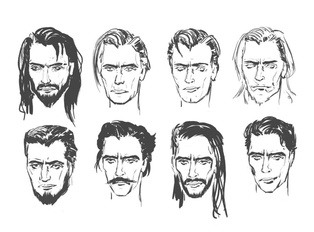 Ostegaard head sketches exploring his personality.