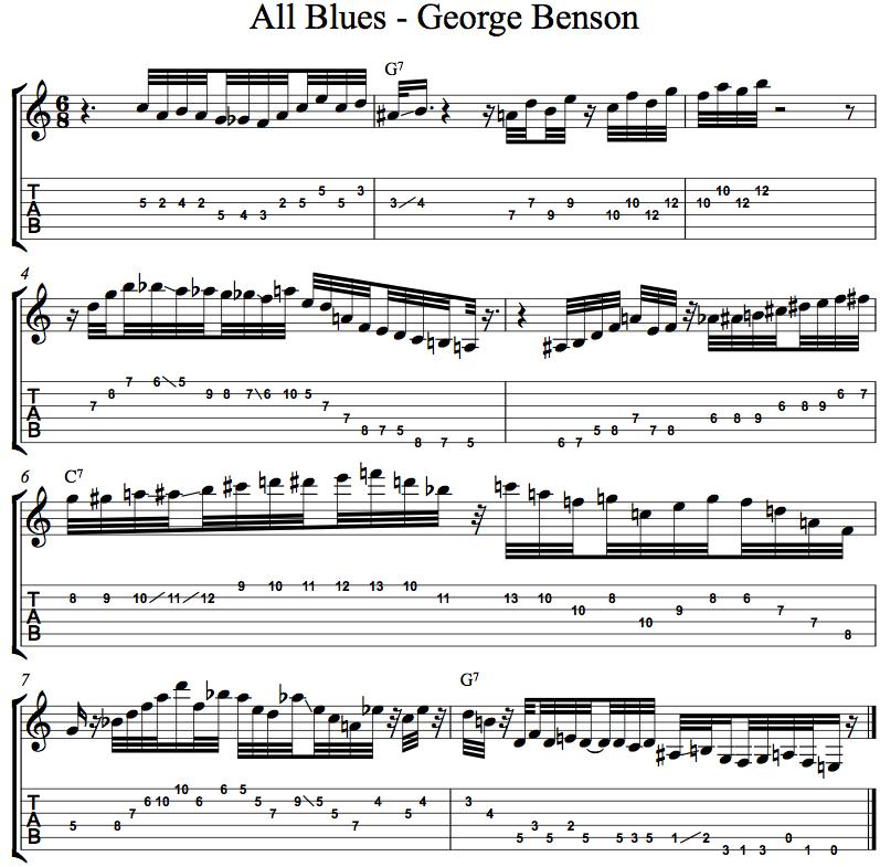 George Benson All Blues Transcription