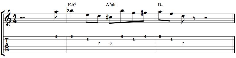 Jazz Guitar Minor Lick