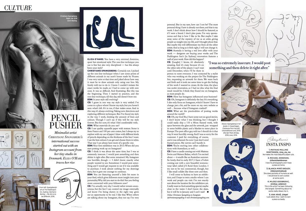 Christiane Spangsberg in Harper's Bazaar, Australia (December, 2016)