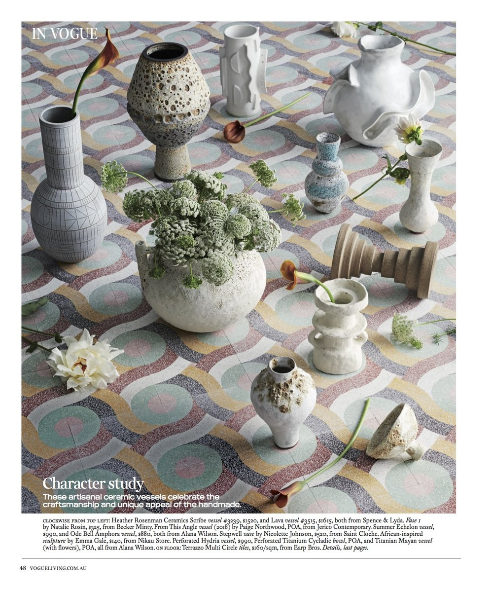Vogue Living Australia - Paige Northwood 'From this Angle', 2018 ceramic vessel featured in the July/August 2018 Issue.