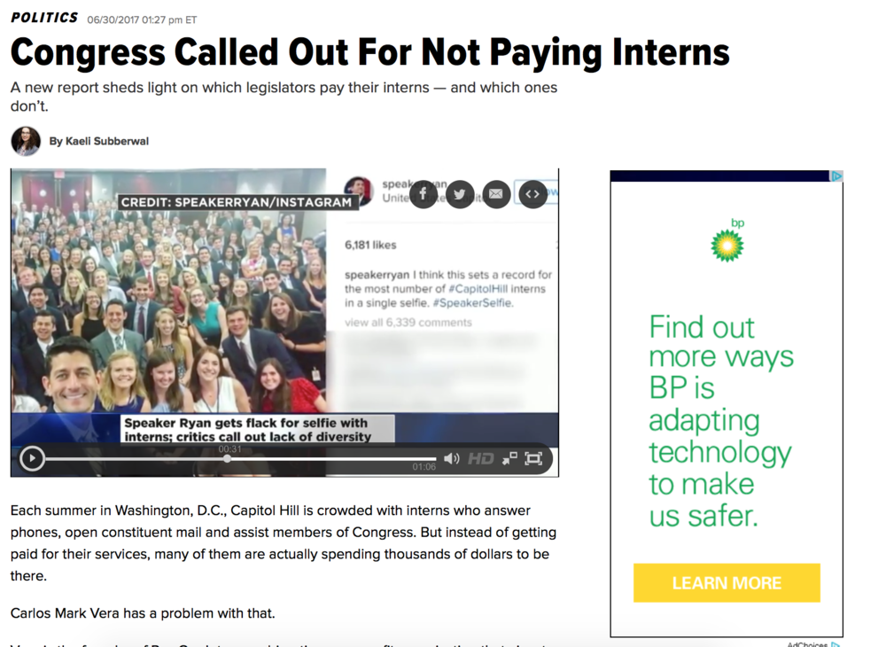 """Congress Called Out For Not Paying Interns - Vera is the founder of Pay Our Interns, a bipartisan, nonprofit organization that aims to increase the number of paid internships in government and the private sector. He is also one of the authors of a new Pay Our Interns reporttitled """"Experience Doesn't Pay The Bills: Why Paid Internships are a Must in Congress."""""""