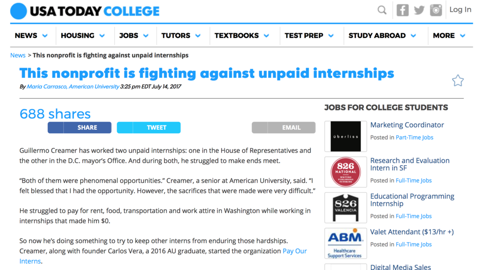 "This nonprofit is fighting against unpaid internships - ""Our biggest goal is to ensure that students from lower socioeconomic backgrounds have the same opportunities than those who can afford to do an unpaid internship,"" Creamer said. ""Let's face it: Most of the legislative assistants, legislative directors and the people that end up working on the Hill once interned, so it really benefits students that can't afford to have those paid internships, so that one day they can move on to being a legislative director in office."""
