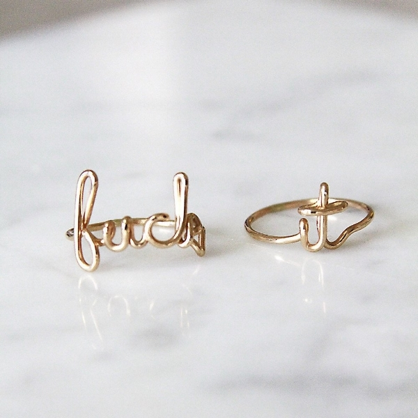 """Fuck It"" rings, $107 at Amarilo Jewelry"